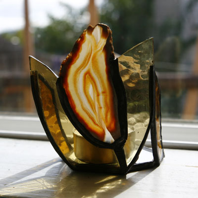 Piece of Stained Glass - Geode Candle Holder