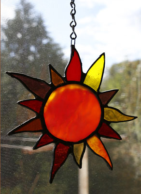 Piece of Stained Glass - Sun Charm